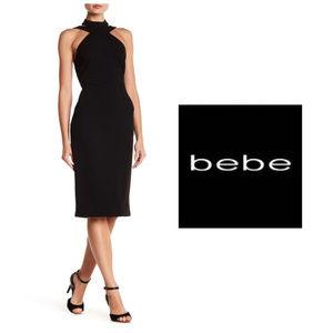 bebe Black Mock Neck Crepe Cocktail Dress Sz 12